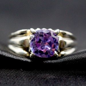Sterling Faceted Purple CZ Solitaire Ring 6.25